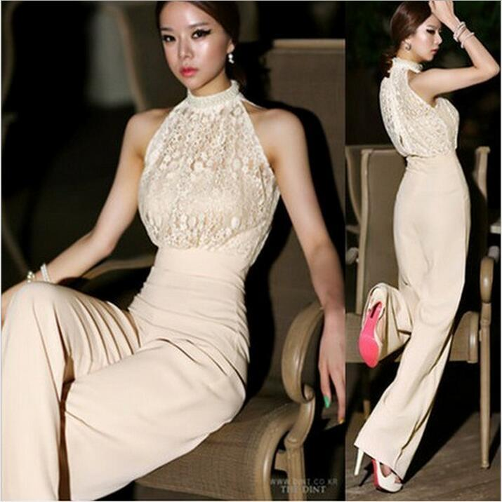 497640b7472 2019 Sexy Lace Jumpsuits For Women Korea Halter Pearl Collar Strapless High  Waist Stitching Lace Chiffon Loose Harem Jumpsuit Rompers Pants From ...