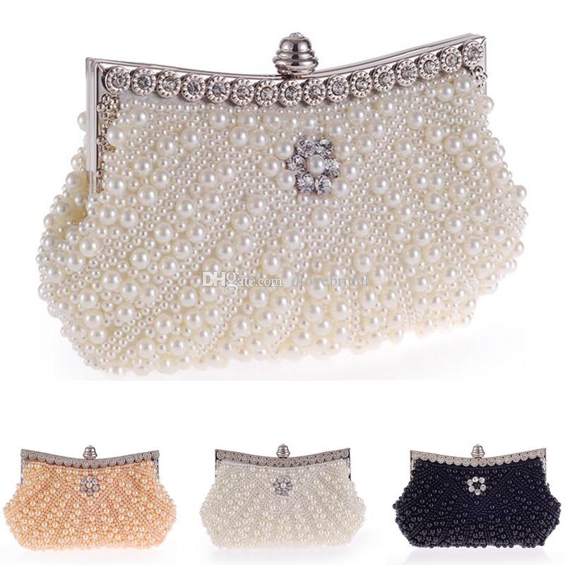 Stunning Handmade Heavy Pearl Beaded Bridal Hand Bag Lady Clutch Wedding  Prom Cocktail Party Evening Handbag White Black Light Champagne Bridesmaid  Bags ... 4096f86fb67b8