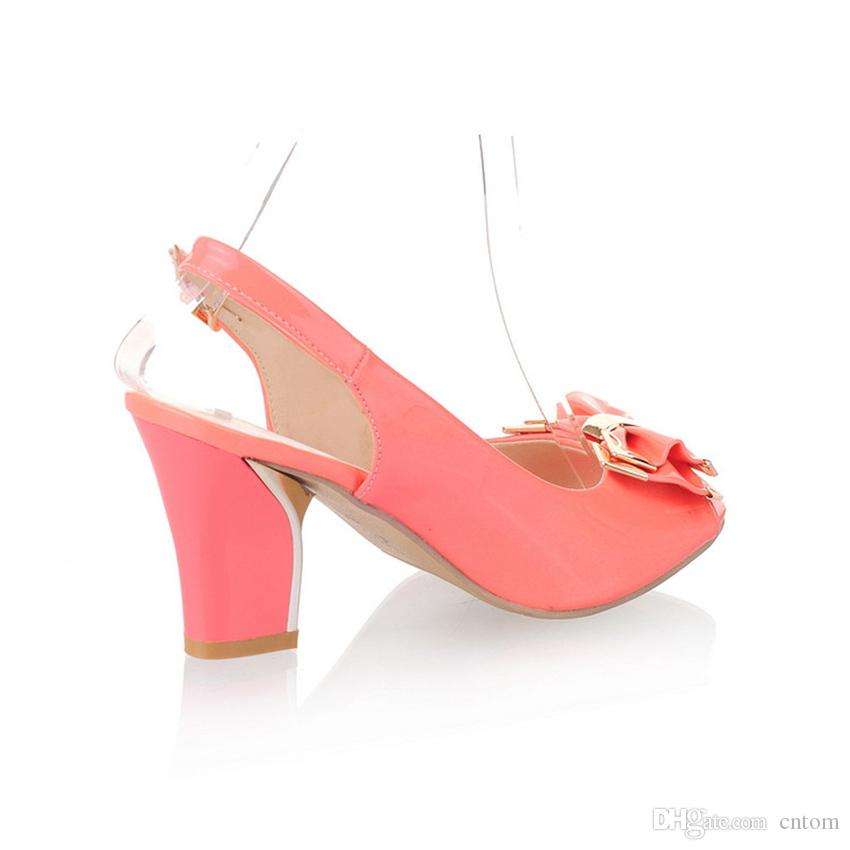 Sandals Shoes Woman Patent Leather New high 7.5CM Thick heel 32 33 40 41 42 Bow EUR Size 31-43