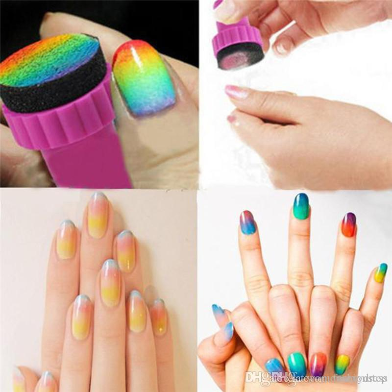 Sponge Nail Art Kit For Nail Stamp Tool ,Nail Art Paint Stencil For ...