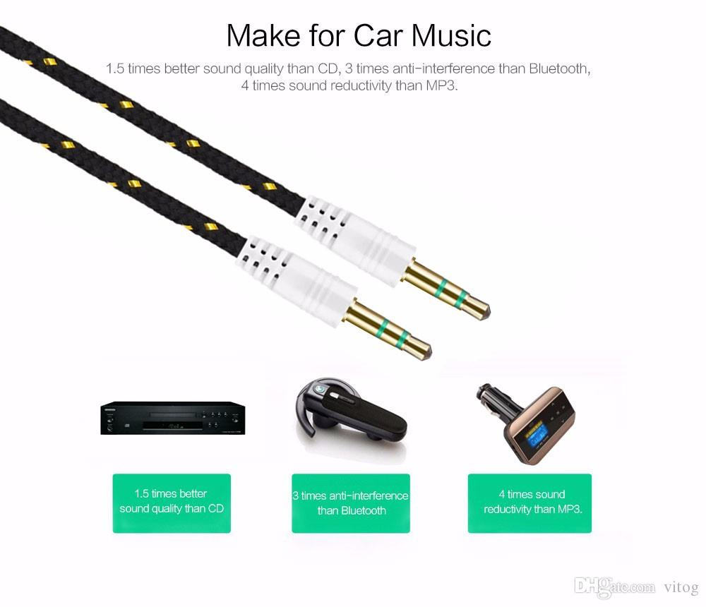 Braided AUX 3.5mm Stereo Auxiliary Car Audio Cable Male to Male for iPhone 6 6+ /Samsung Galaxy S5/PDA/ipad/MP3