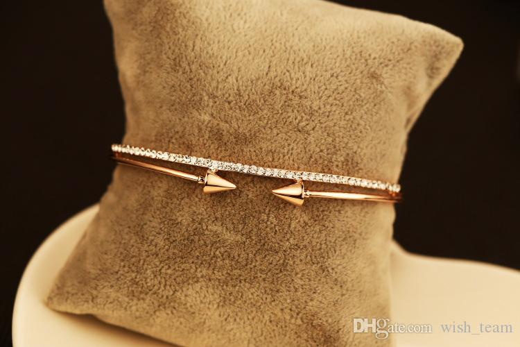 2016 Marca diseñador Doble flecha Brazalete Pulsera 18 K oro rosa plateado cristal Bangle joyería de moda mejor regalo para el amante Venta caliente