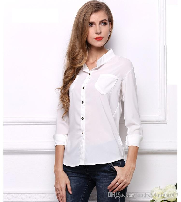 0d4b21bdfa4 New Casual White Women Blouse Ladies Solid Elegant Lapel Work White Blouses  Long Sleeve OL Office