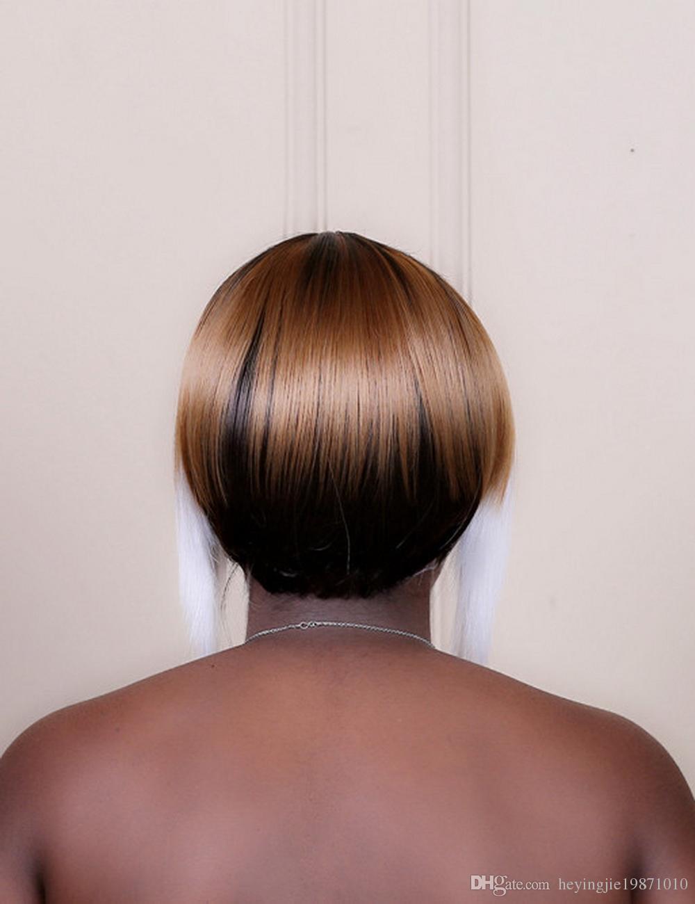 Xiu Zhi Mei 10 pouces Droite Blanc Marron Faits saillants Cheveux Courts Avec Neat Bangs Synthétique ROYAUME-UNI Ombre Perruques Pour Femmes