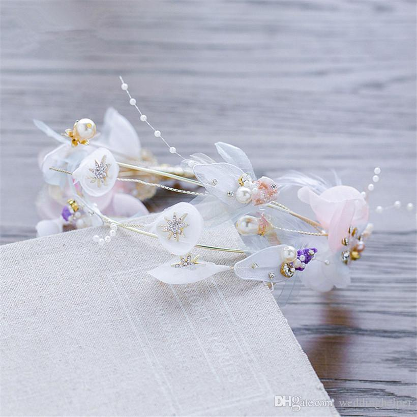 Vintage Wedding Bridal Feather Headband Headpiece Princess Crown Tiara Silver Crystal Rhinestone Hair Accessories Jewelry Princess Headdress