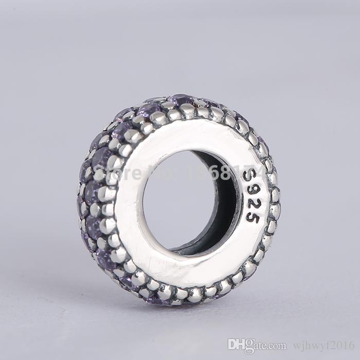 Nova coleção autêntica 925 encantos espaçador de prata esterlina com fantasia de cristal roxo Fit DIY original marca encantos pulseira
