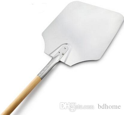 Al por mayor-Libre de usos múltiples Práctico de aluminio Plaza de pizza pala de pala pala de plata Teppanyaki pala frita JE0064