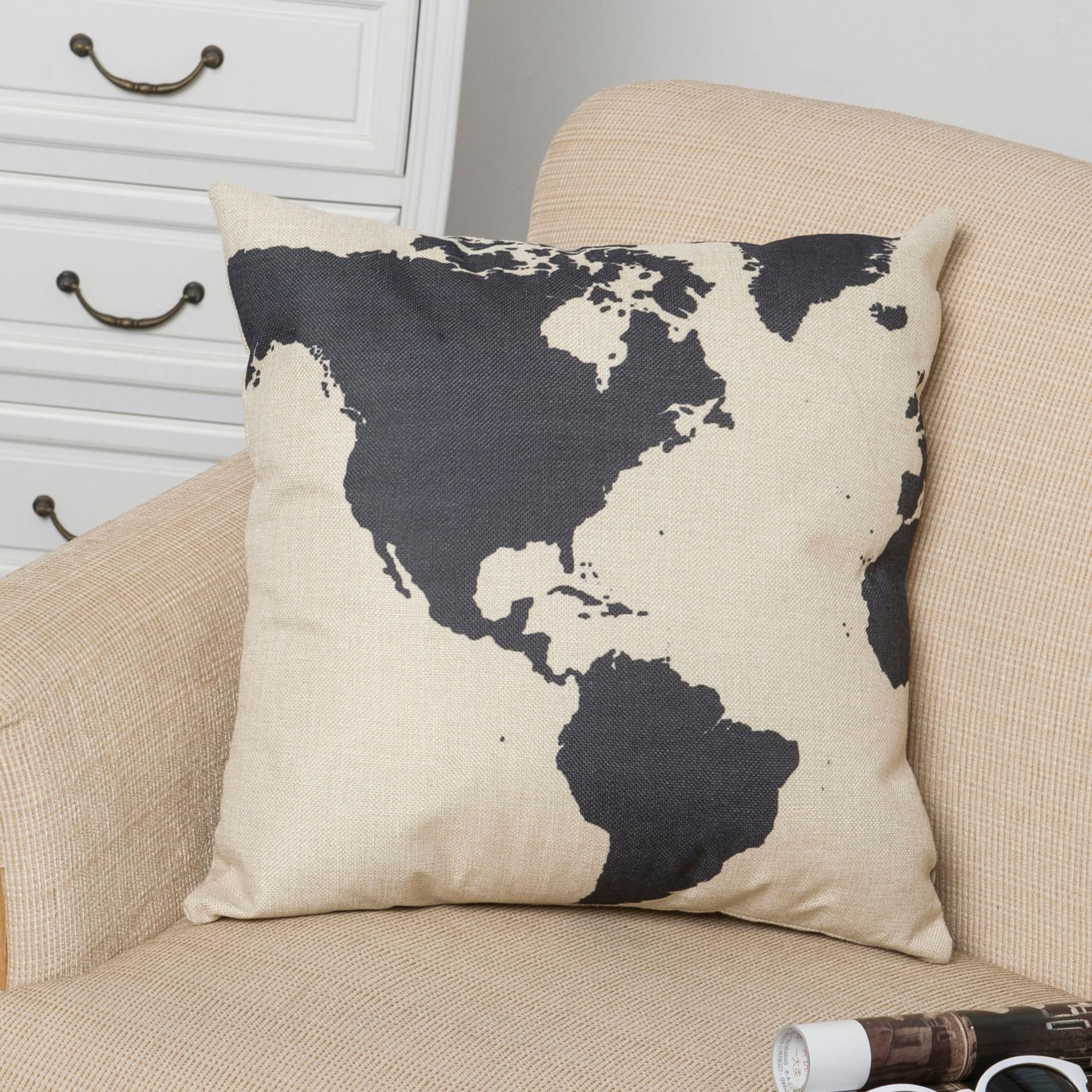 """World Map Cushion Pillow Cover Vintage Home Decor Linen Throw Pillow Case , 18 """" x 18 """" for Sale"""