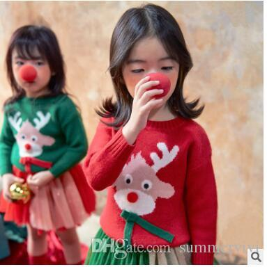 christmas children knitting sweater girls cotton cartoon moose jumpers winter kids lace up long sleeve pullover girls leisure clothes c1990 christmas