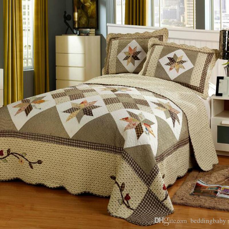 Embroidery Bedding Sets Handmade Quilted Bedding Set Duvet Cover Bed Sheet  100% Cotton Bedding Sets Queen Size White Bedding Queen Comforter Sets From  ...