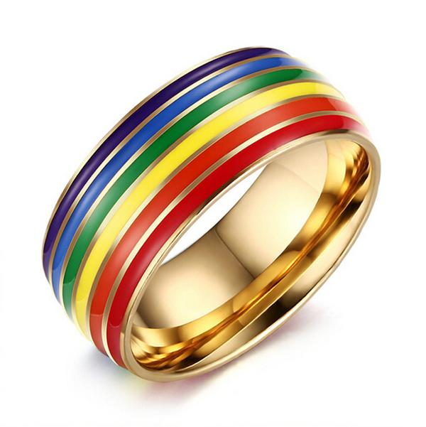 Fashion Day Jewelry Latest Rainbow 316l Stainless Steel Gold Gay