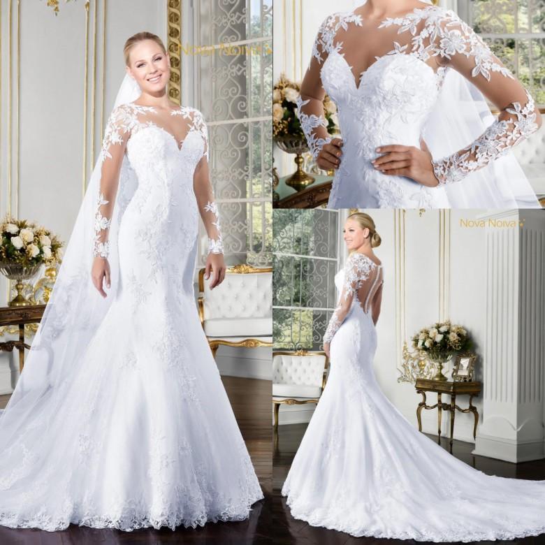 98395ce5c5f Elegant Lace Wedding Dresses 2016 Mermaid Appliqued Long Sleeves Beaded  Luxury Wedding Gowns Vestidos De Novia BA2711 Wedding Bridal Dresses Wedding  ...