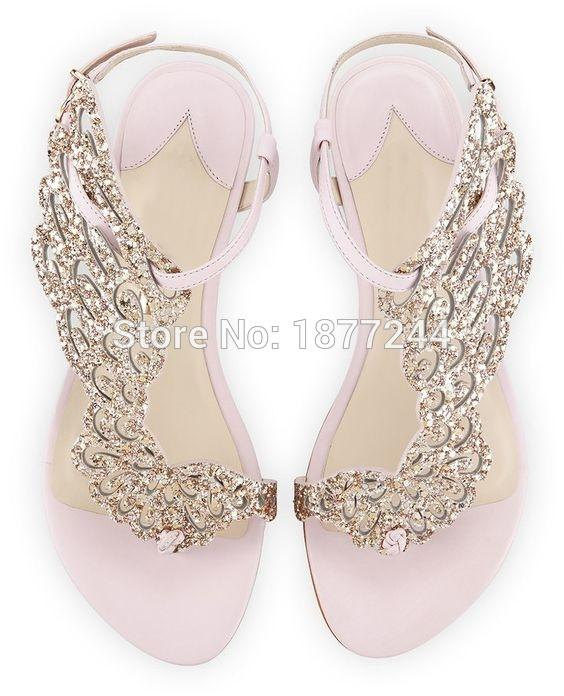 61a07a2ee Newest Pink Glitter Angel Wing Flat Sandals Leaf Rhinestone Lady Summer  Rome Sandals Shoes Party Dress Women Leather Shoes Wedges Espadrilles From  ...