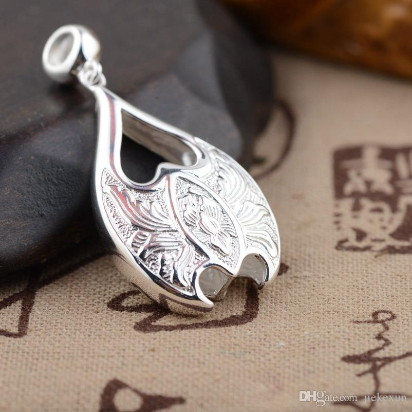 S925 sterling silver pendant handmade silver plain style pendant female models sided peony