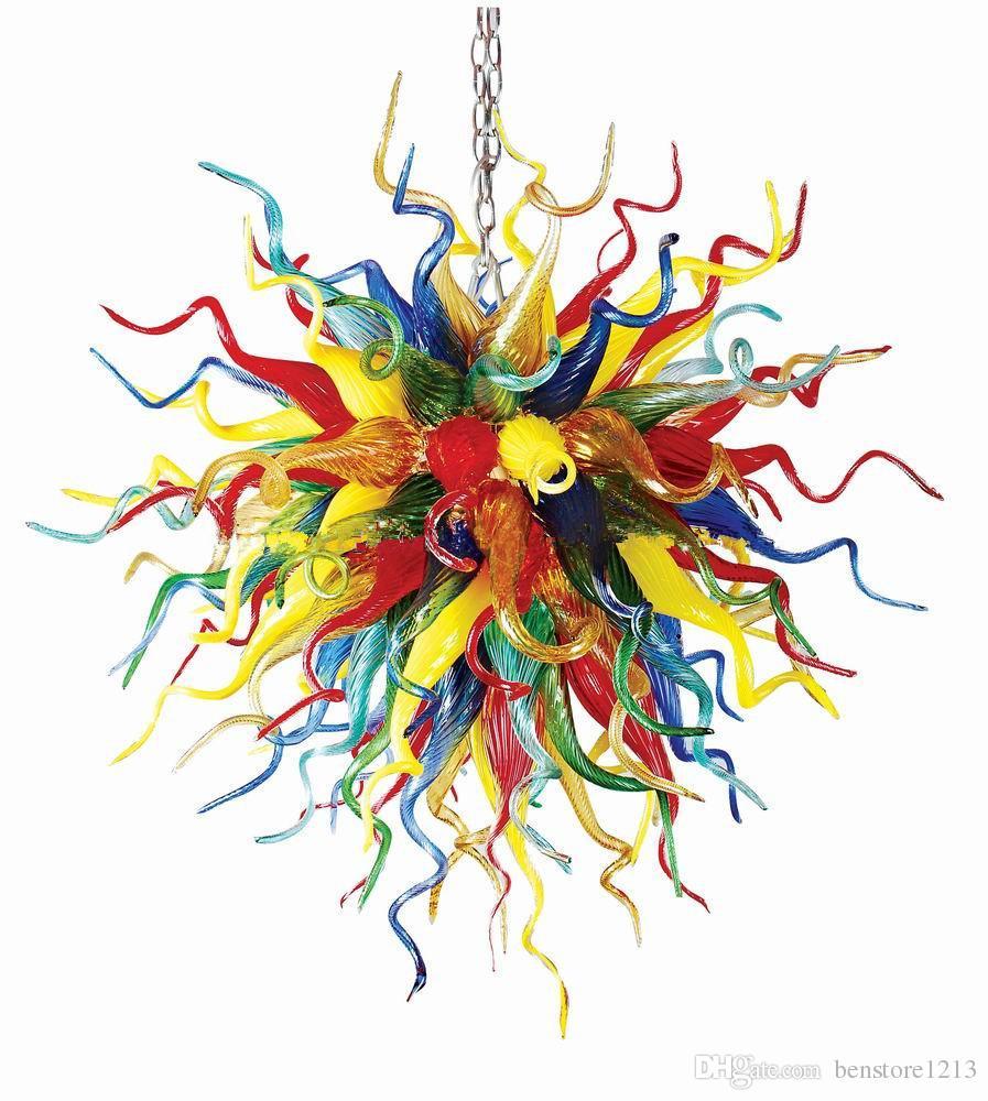 Lampadari moderni lampadari di cristallo multicolore Tiffany lampadario in vetro colorato rotondo art deco E27 a led pendente a sospensione a led