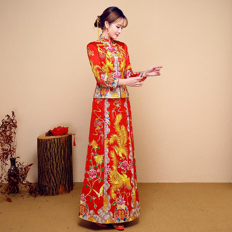HYG368 Red Bride Cheongsam Grain Fashion Women Embroidery Modern Chinese Wedding Dress Long Traditional Clothes China Qipao Pattern