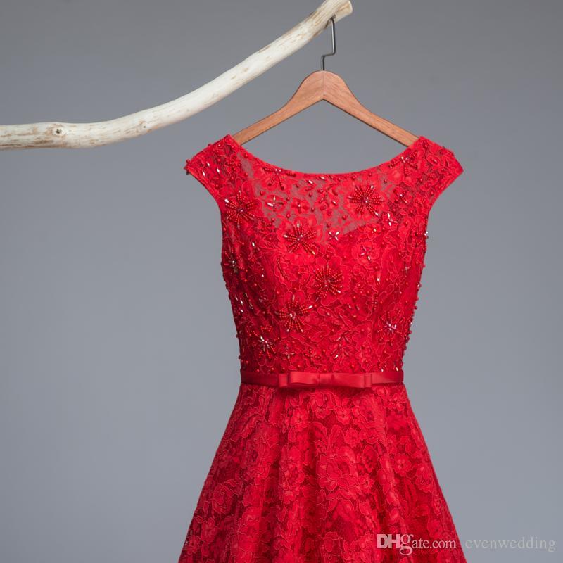 Bateau Neck Lace Abendkleid Lange Perlen Kleider 2016
