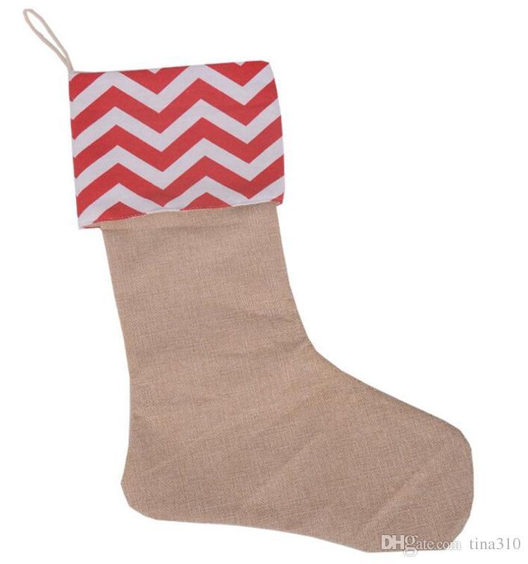 12 * 18 pouce neuf de haute qualité toile bas de Noël cadeau sacs de Noël bas de Noël décoratif chaussettes sacs 4543