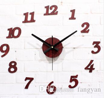 Европейский пасторальный ностальгия ретро текстура древесины настенные часы,творческий DIY мода творческий DIY наклейки на стены часы высокого качества
