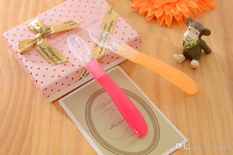 ملعقة ناعمة من السيليكون للأطفال ، أدوات مائدة لتغذية الأطفال وملعقة للأطفال ، لونان