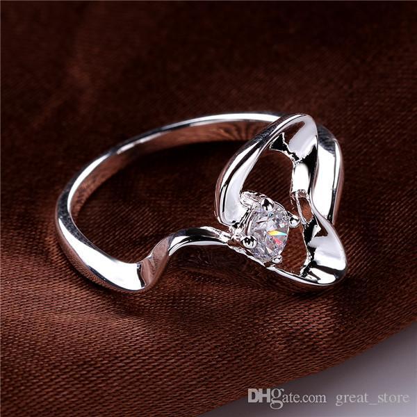 Marke 925 Silber Ring Stones Wave Heart-förmig Freies Schiff GSSR468 Fabrik Direct Sale Mode Sterling Silber Fingerringe