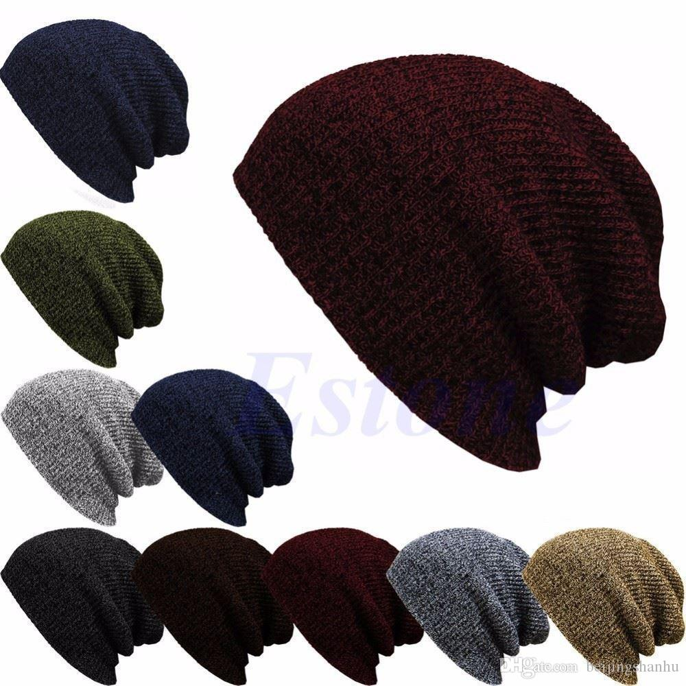 Winter Casual Cotton Knit Hats For Women Men Baggy Beanie Hat Crochet  Slouchy Oversized Ski Cap Warm 10446640a4