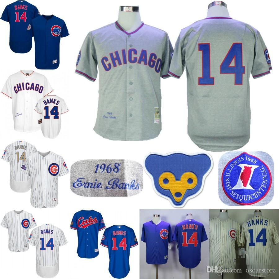 60928dade ... 2017 Men Chicago Cubs Jerseys 14 Ernie Banks Jersey Flexbase Cool Base  Home Away White Red ...