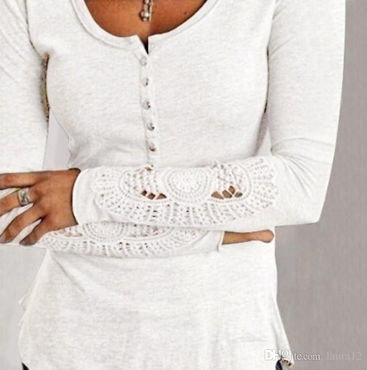 2016 Autumn Long Sleeve Lace Cotton Slim Women T Shirts Crew Neck Button New Style Women Tops Cheap Women Clothing Gray Black White Colors