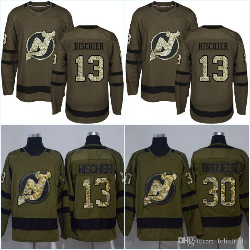 best service de5d7 bfb9c Camouflage New Logo New Jersey Devils Jersey 13 Nico Hischier 39 Brian  Gibbons 30 Martin Brodeur 35 Cory Schneider Army Green Hockey Jerseys