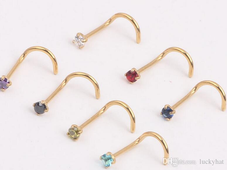 Stainless steel anti allergy gold silver unisex nose rings nose studs piercing jewelry body jewelry Zircon bent nose ring bend bar