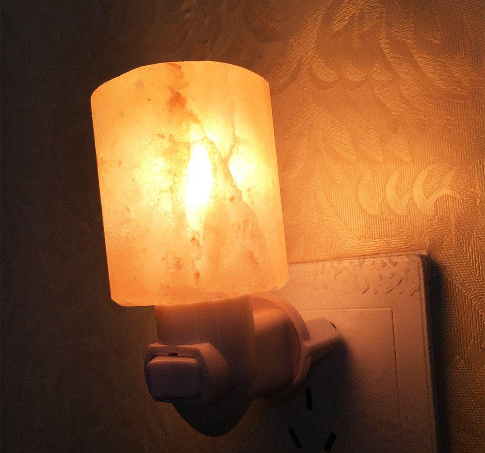 Natural Himalayan Salt Night Light Decorative Air Purifier Wall Lamp Cylinder Light Nursery Lamp Natural Crystal Lamp US/EU/AU/UK Plug