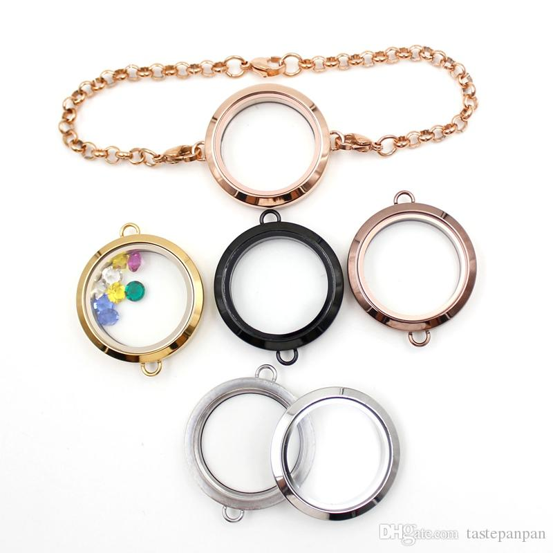 Großhandel 25mm medaillon armband mode 316l edelstahl schwimm medaillon armband twist glasspeicher medaillon kette armband für frau