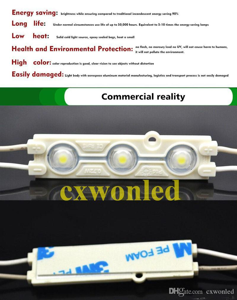 2017 Newest Led Modules With Lens Waterproof IP65 SMD 5630 3 Leds Warm/Cold White Red Blue Green For Channel Letter DIY