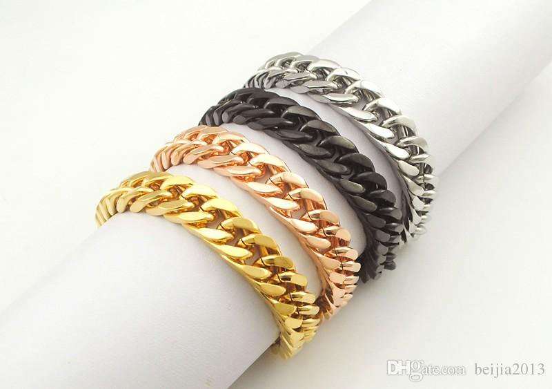 "Gold Plated Stainless Steel Bracelets Curb Cuban Chain Mens Jewellery Fashion, 8.7"" long,10mm wide,Wholesale WB003"