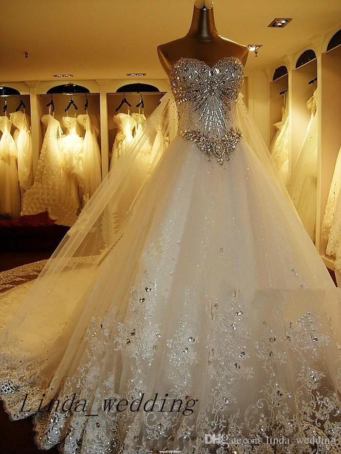 Luxury Sweetheart Wedding Dresses Bling Crystal Sparkling Long Train 2019 New Bridal Gown Wedding Dress