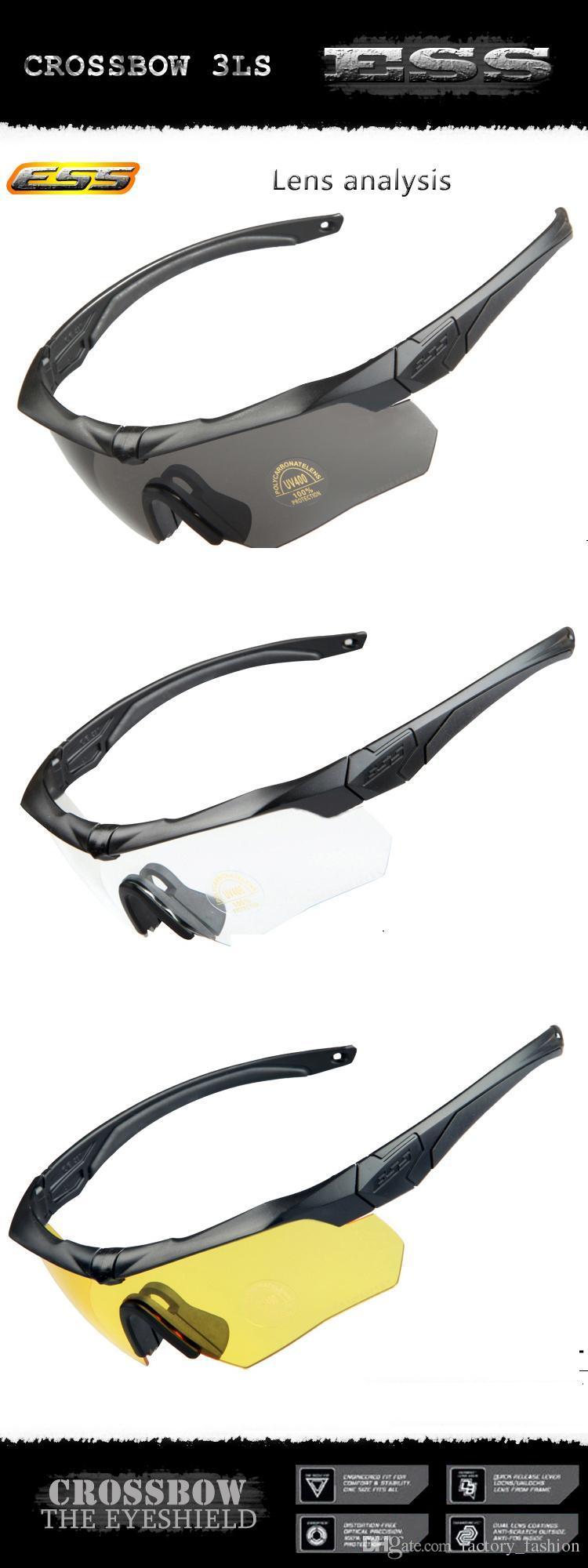 Neue Ankunft 2016 Military ESS CROSSBOW Sonnenbrillen Brille 3 Linsen Mit Myopie Rahmen Armbrust Schwarz Gelb Farben Outdoor Radfahren Brillen