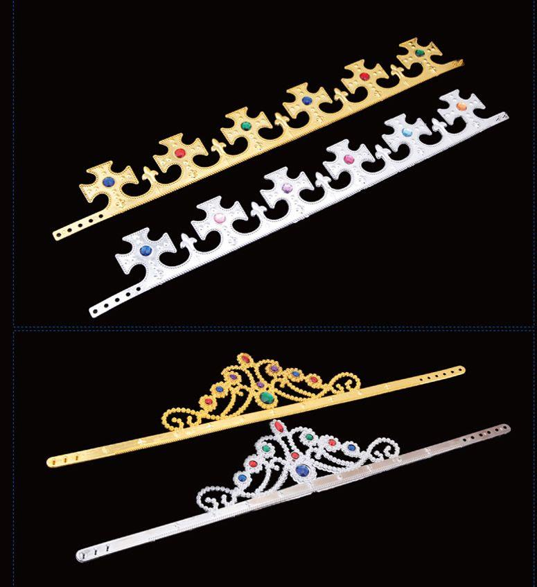 Cristal de lujo Crystal King y Queens Crown Hats Cosplay Holloween Party Birthday Princess Sombreros Gorras de oro Plata Regalos HH-C09