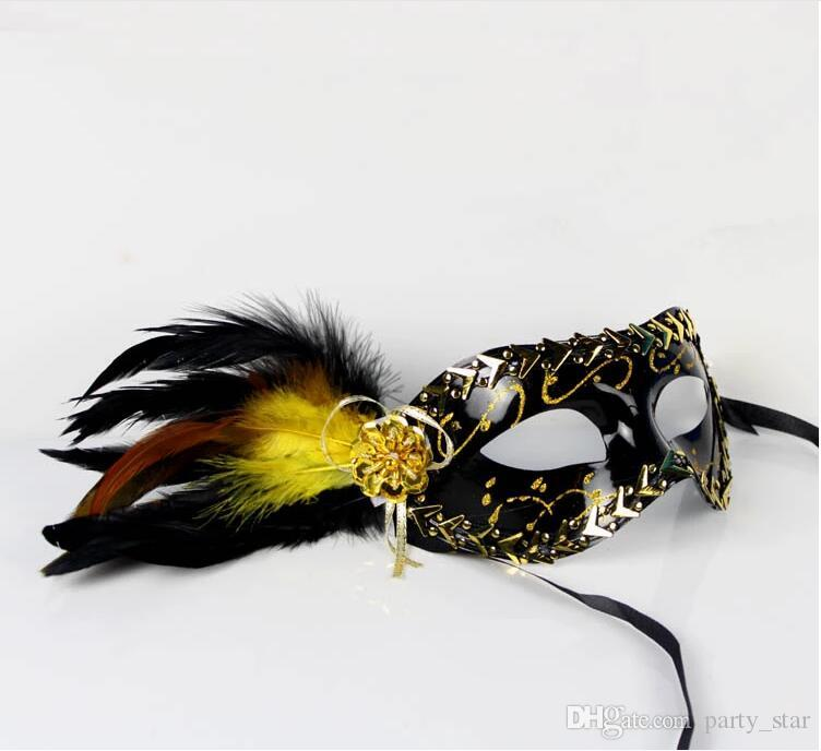 Kadın İmitasyon Çelik Kenar Boyalı Masquerade Maskeleri Cadılar Bayramı Partisi Venedik Karnaval Yüz Maskesi Altın Gümüş Tüy Yarım Yüz Maskesi