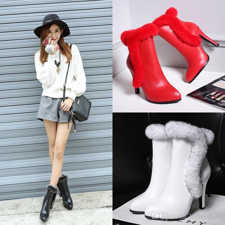 2017 Autumn And Winter New High-Heeled Boots Rabbit Hair Martin Boots Leather White Fine Pointed Boots