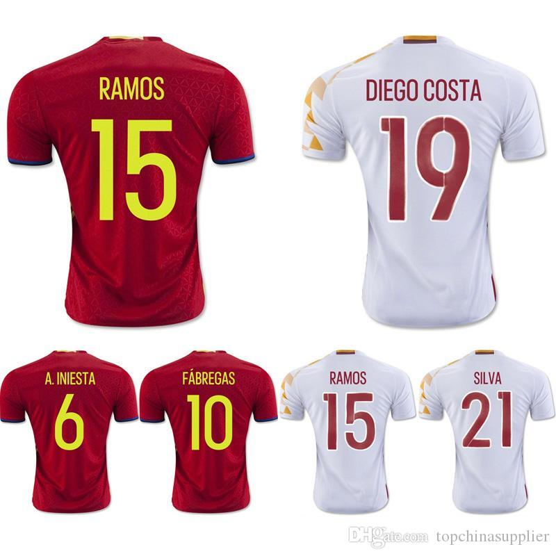 7a8635dcc ... Euro Cup 2016 Spain Soccer Jersey AAA+ Thai Quality Mens Soccer Shirts  6 A. INIESTA ...
