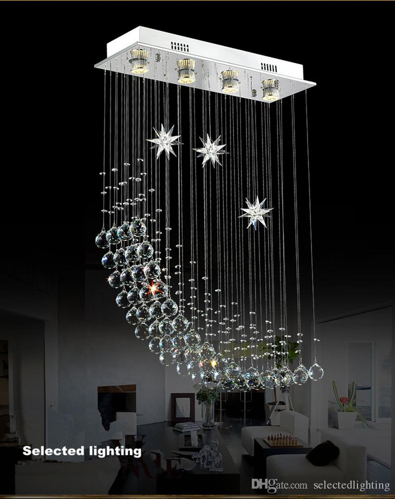Contemporary Modern Crystal Rain Drop Chandelier Lighting Flush Mount Led Ceiling Bathroom Fixtures Pendant Lamp for Living Dining L.23.5""