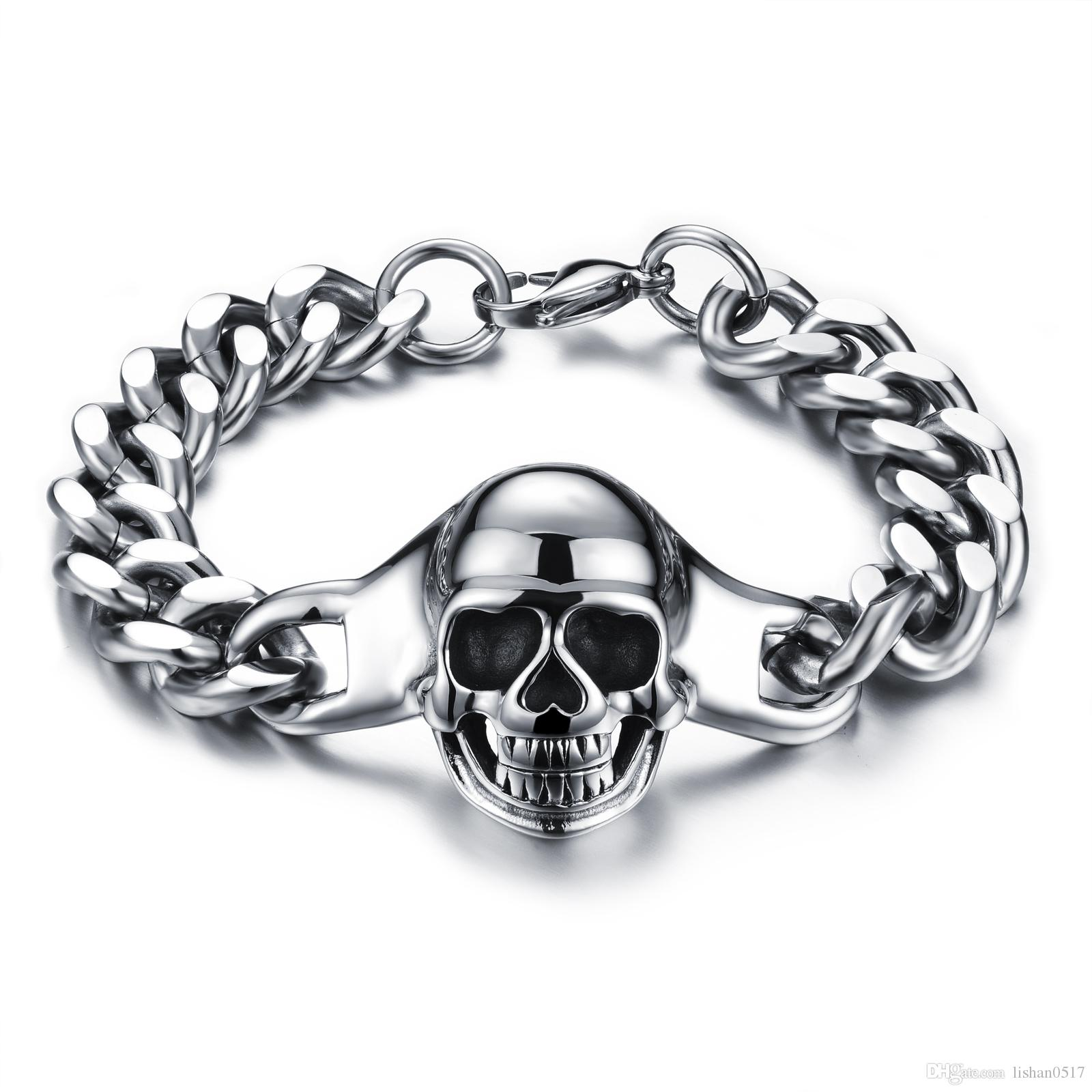 Classical Skeleton Man Bracelet Fashion 316L Stainless Steel Chain