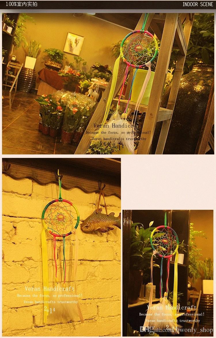 Fashion Gift Rainbow Dreamcatcher Wind Chimes Feather Pendant Dream Catcher Regalo Wedding Gift Party Decoration 2019
