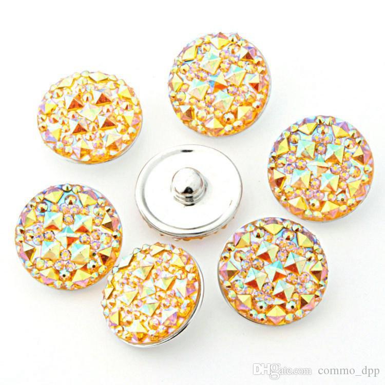 Ucuz toptan 18 MM zencefil snaps 7 renkler Yuvarlak Reçine takı geçmeli Fit snaps düğmeler charm Bilezik Değiştirilebilir DIY takı bulgular