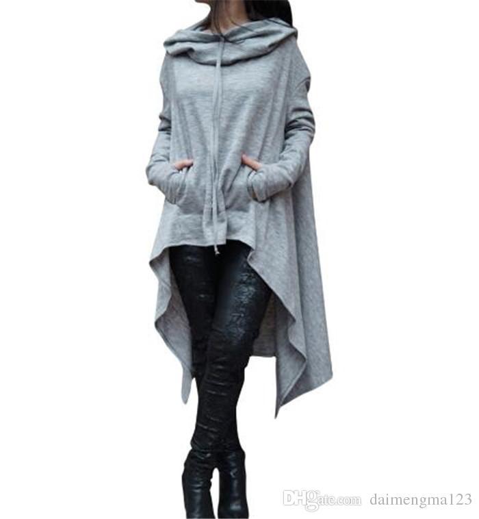10 design Hoodies Irregular Manga Longa Casacos Mulheres Sólidos Casual Casaco Outono Blusas Moletons Pullover Outwear Jumper Roupas Femininas M102