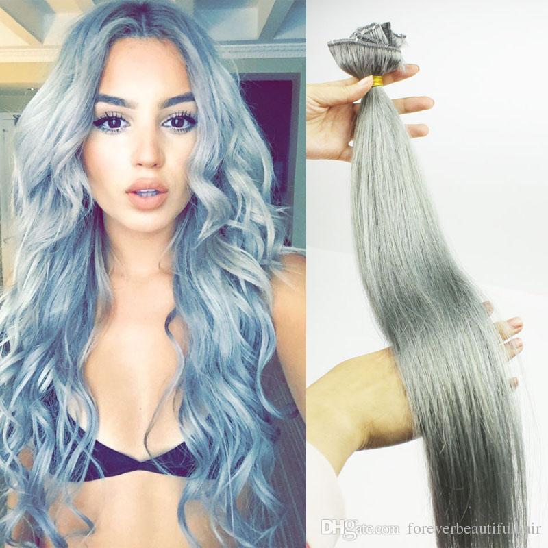 Grey clips in hair extensions silver 120gram clip in human hair 34 pmusecretfo Choice Image