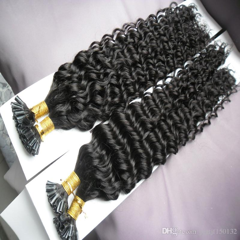 브라질 곱슬 머리 각질 스틱 팁 머리 확장 200 초 200 그램 처리되지 않은 U 팁 곱슬 곱슬 브라질 머리 확장 각질 사전 결합