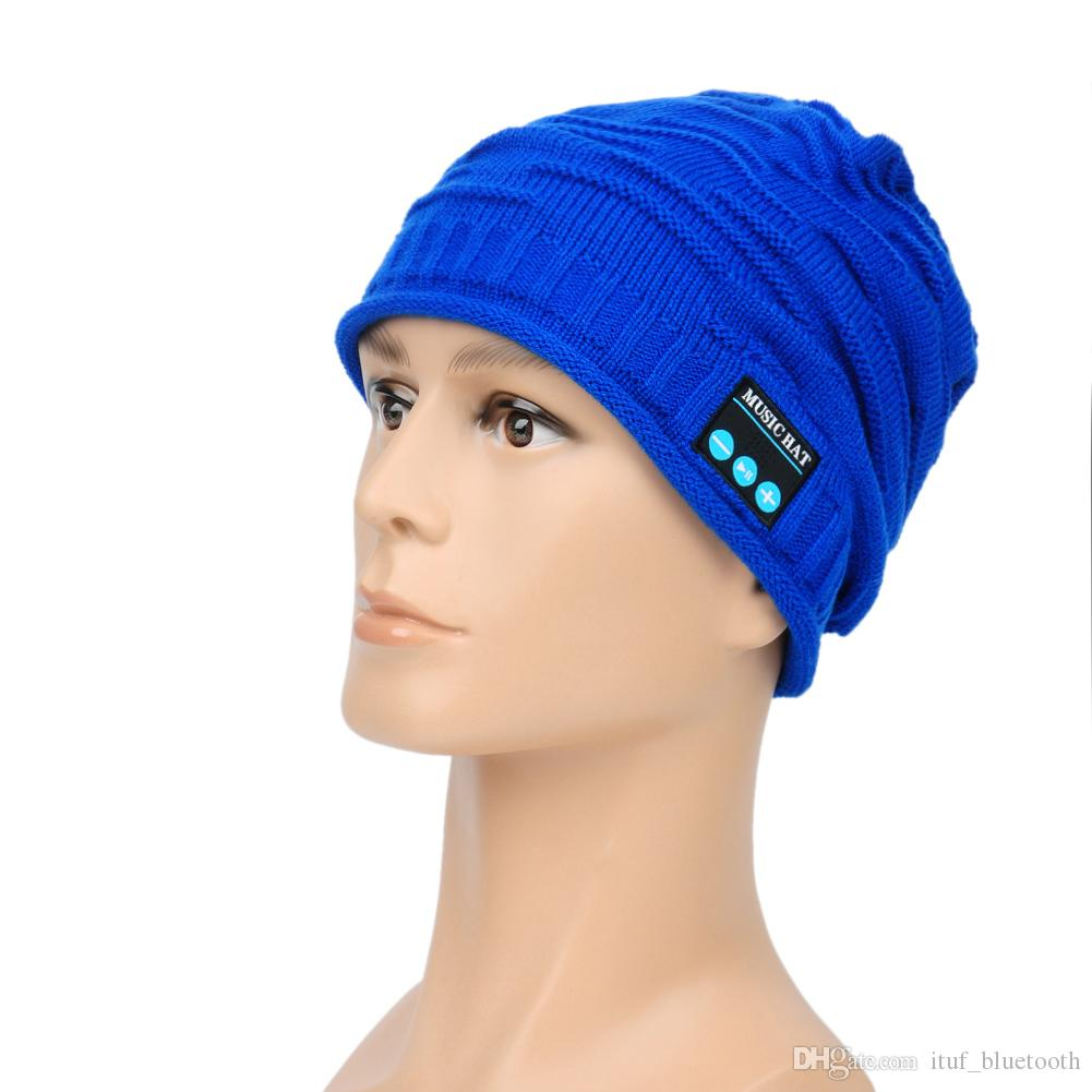 ITUF Latest MZ12-16 Fashion Music Hat Bluetooth Soft Warm Wireless Beanies Colorful Hands-free Knit Caps With Microphone Headset