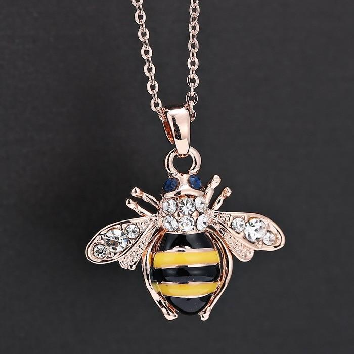 Darmowa Wysyłka Golden Bee Rose Gold Wisiorek Naszyjnik Unikalny Austria Elementy Kryształowe Naszyjniki Dla Kobiet Biżuteria Hurtownie