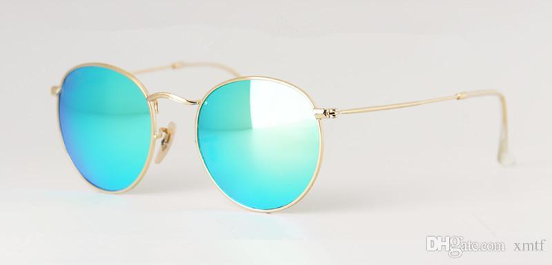 Горячие продажи бренда старинные мужские солнцезащитные очки ретро круглый металл очки G15 стекло линзы солнцезащитные очки для женщин Oculos де Соль 50 мм с делом